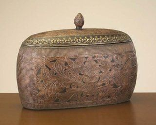 Wood Box Embossed Copper and Brass Trim   Jewelry Boxes