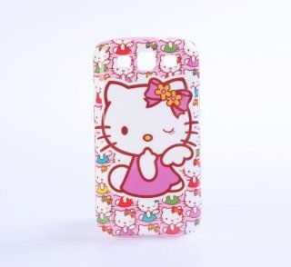 Samsung Galaxy S3 i9300 Hello Kitty Blinking Colorful Kitties Pattern Hard Plastic Protective Case Cover Skin Pink Cell Phones & Accessories