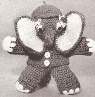 Vintage Crochet PATTERN to make   Baby Elephant Stuffed Animal Soft Toy. NOT a finished item. This is a pattern and/or instructions to make the item only.