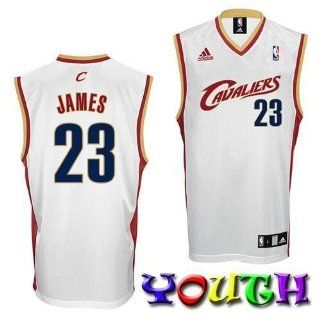 LeBron James Cleveland Cavaliers Youth Replica Road Adidas NBA Basketball Jersey (White)  Athletic Jerseys  Sports & Outdoors