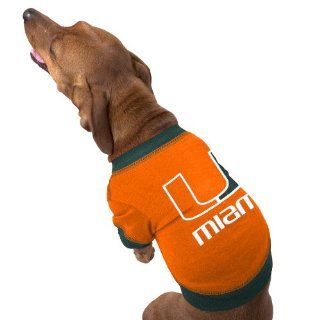 Miami Hurricanes Orange Dog Tee Shirt for Medium Dogs