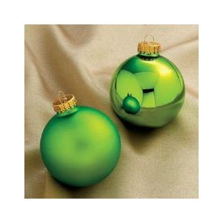 Club Pack of 24 Matte & Shiny Apple Green Glass Ball Christmas Ornaments 3.25""