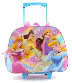 Disney Princess Girls Large Purple Duffle Rolling Wheeled Backpack Luggage Travel Case Pilot Toys & Games