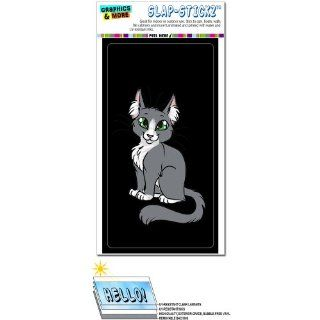 Gray Grey Cat On Black SLAP STICKZ(TM) Automotive Car Window Locker Bumper Sticker Automotive