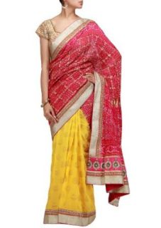 A half half bandhani saree in pink and yellow with sequence border Clothing