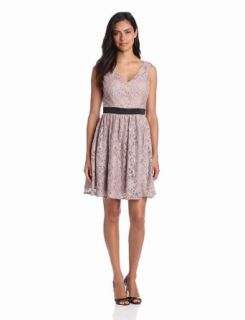 Hailey by Adrianna Papell Women's V Neck Lace Dress Clothing