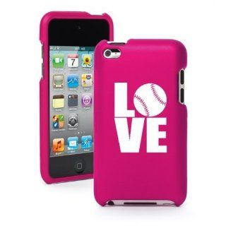 Apple iPod Touch 4th Generation Hot Pink Rubber Hard Case Snap on 2 piece BR98 Love Baseball Softball Cell Phones & Accessories