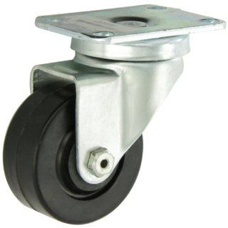 "Albion 02 Series 3"" Diameter Hard Rubber Wheel Light Duty Institutional Swivel Caster, Plain Bore Bearing, 3 5/8"" Length X 2 1/2"" Width Plate, 300lbs Capacity (Pack of 4)"