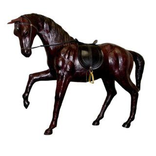 Gurman LA LA 1102 06IN Leather Horse Marching with Saddle Collectible Figurine, 6 Inch, Dark Brown