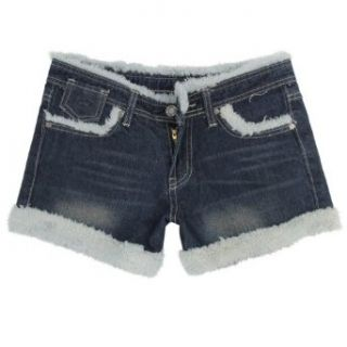 Gamiss Women's Fashionable Denim Thick Fur Decorated Form fitting Casual Shorts, Navy Blue, Regular Sizing 12