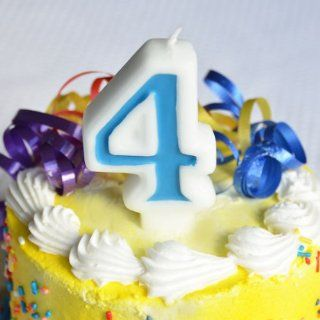 "Number ""4"" Numerals Birthday Party Cake Candle   Blue Kitchen & Dining"