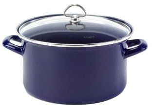 Chantal Enamel On Steel 9 Quart Stockpot with Tempered Glass Lid, Cobalt Blue Kitchen & Dining