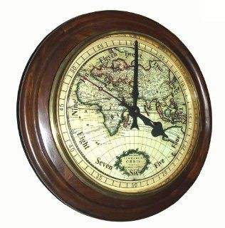 Antiquated World Map Large 18 inch Rosewood Gallery Clock with High grade Sweep Seconds Movement   Wall Clocks