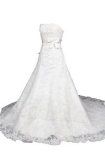 Winey Bridal Strapless A line Tulle White Beading Bow Sequins Wedding Dresses Clothing