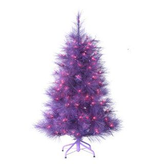 "4 Foot Pre lit ""Feathered Winter Twilight"" Christmas Tree with Lights   Purple Christmas Tree"