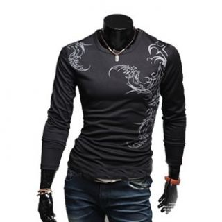 Zehui Mens Leisure Long Sleeve Mens Slim Fit Wolf Tattoo Crewneck Casual T Shirt Clothing