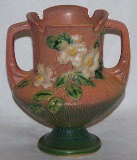 Roseville Pottery White Rose Pink Vase 146   Decorative Vases