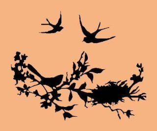 NESTING BIRDS, TREE BRANCHES AND NEST Vinyl Stickers/Decals