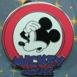 Disney Pin Red White Mickey Mouse Circle Concerned OH NO