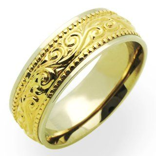 14K Two Tone Gold Wedding Bands For Men 7MM Designed Ring , Size 8.5 Jewelry