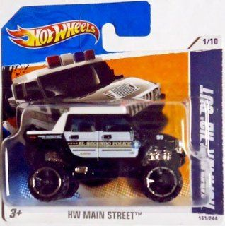 2011 Hot Wheels HUMMER H2 SUT (Black El Segundo Police SUV) #161/244, HW Main Street #1/10 (Short Card) Toys & Games