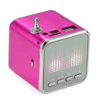 Rechargeable Portable Mini Speaker USB Disk Micro Sd Tf Fm for Cell Phone  Mp4 Pc Laptop Notebook(hot Pink)  Players & Accessories