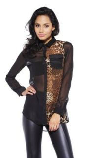 AX Paris Women's Leopard Print Sheer Blouse
