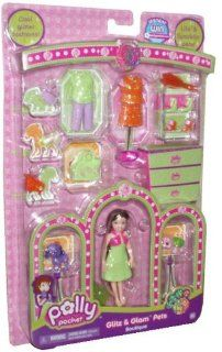 Polly Pocket Glitz and Glam Pets Boutique Playset Polly Doll with Cool Glitter Fashion Sets and 2 Sparkling Pets (Dog and Turtle) Toys & Games
