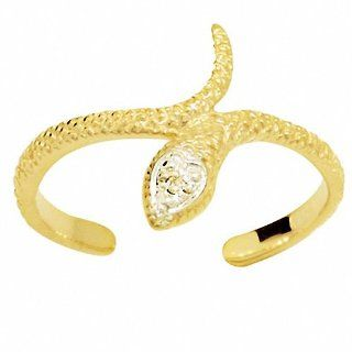 Snake Diamond 9ct Solid Yellow Gold Toe Ring ADJUSTABLE 24900 Jewelry