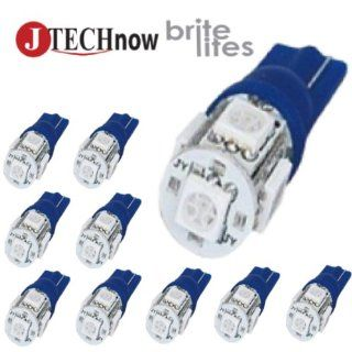 Jtech 10x 194 168 2825 T10 5 SMD Blue LED Car Lights Bulb Automotive