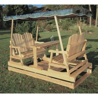 Rustic Natural Cedar Furniture Deluxe Wooden Garden Glider   Outdoor Gliders