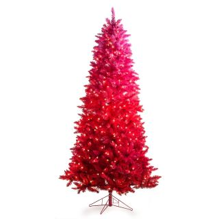 7.5 ft. Vintage Red Ombre Spruce Prelit Christmas Tree   Christmas Trees