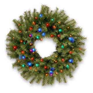 24 in. Norwood Fir Pre Lit LED Christmas Wreath   Battery Operated   Christmas Wreaths