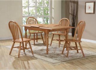Casual Home Solid Wood 5 Piece 45 60 Inch Dining Table Set with arrow back Chairs   Dining Table Sets