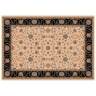 Dynamic Rugs Radiance Collection 47 x 24 Hearth Rug Creme Floral   Hearth Rugs