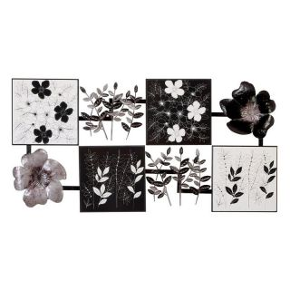 Black and White Abstract Flower Wall Decor   47W x 24H in.   Wall Sculptures and Panels