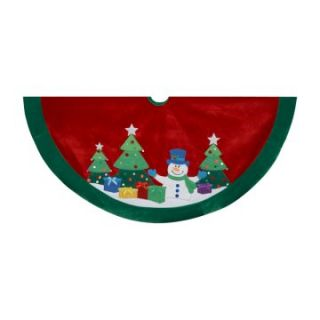 Kurt Adler 48 in. Snowman and Trees Applique and Embroidered Treeskirt   Tree Skirts