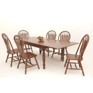 Casual Home Solid Wood 7 Piece 66 96 Inch Dining Table Set with Monarch Chairs   Dining Table Sets