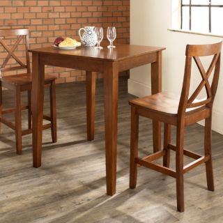 Crosley 3 Piece Pub Dining Set with Tapered Leg and X Back Stools   Indoor Bistro Sets