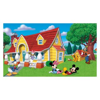 Mickey and Friends Chair Rail Prepasted Mural 6 x 10.5 ft.   Kids and Nursery Wall Art