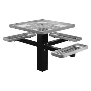 46 in. Single Post ADA Compliant Perforated Square Commercial Grade Picnic Table with Attached Benches   Commercial Picnic Tables