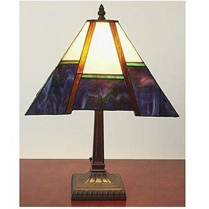 Tiffany Style Purple Mission Style Table Lamp   Desk Lamps