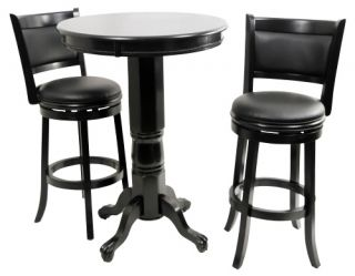 Boraam Augusta 3 Piece Pub Table Set   Black Sandthru   Pub Tables