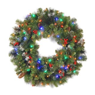 36 in. Crestwood Spruce Pre lit LED Wreath   Christmas Wreaths