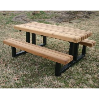 Rectangular Heavy Duty Wood Picnic Table   Picnic Tables
