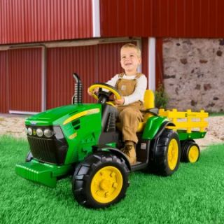 Peg Perego John Deere Battery Powered Ground Force Tractor with Trailer   Battery Powered Riding Toys