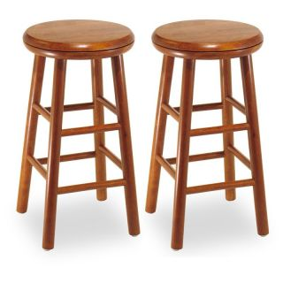 Winsome Wood 24 Inch Charger Swivel Counter Stool   Set of 2   Bar Stools