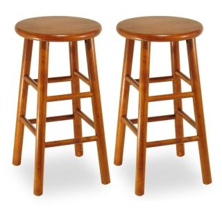 Winsome Wood 24 Inch Commander Beveled Seat Counter Stool   Set of 2   Bar Stools