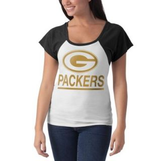 47 Brand Green Bay Packers Ladies Big Time T Shirt   White/Black