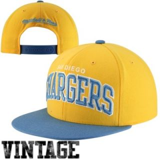 Mitchell & Ness San Diego Chargers Classic Arch Snapback Adjustable Hat   Gold/Light Blue